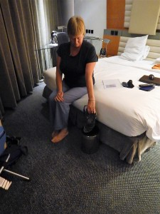Kim says goodbye to her faithful sandals.